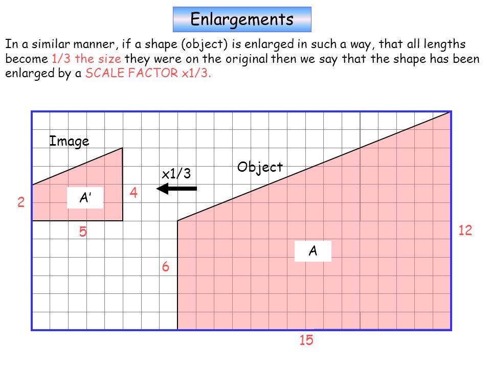 Enlargements In a similar manner, if a shape (object) is enlarged in such a way, that all lengths become 1/3 the size they were on the original then we say that the shape has been enlarged by a SCALE FACTOR x1/3.