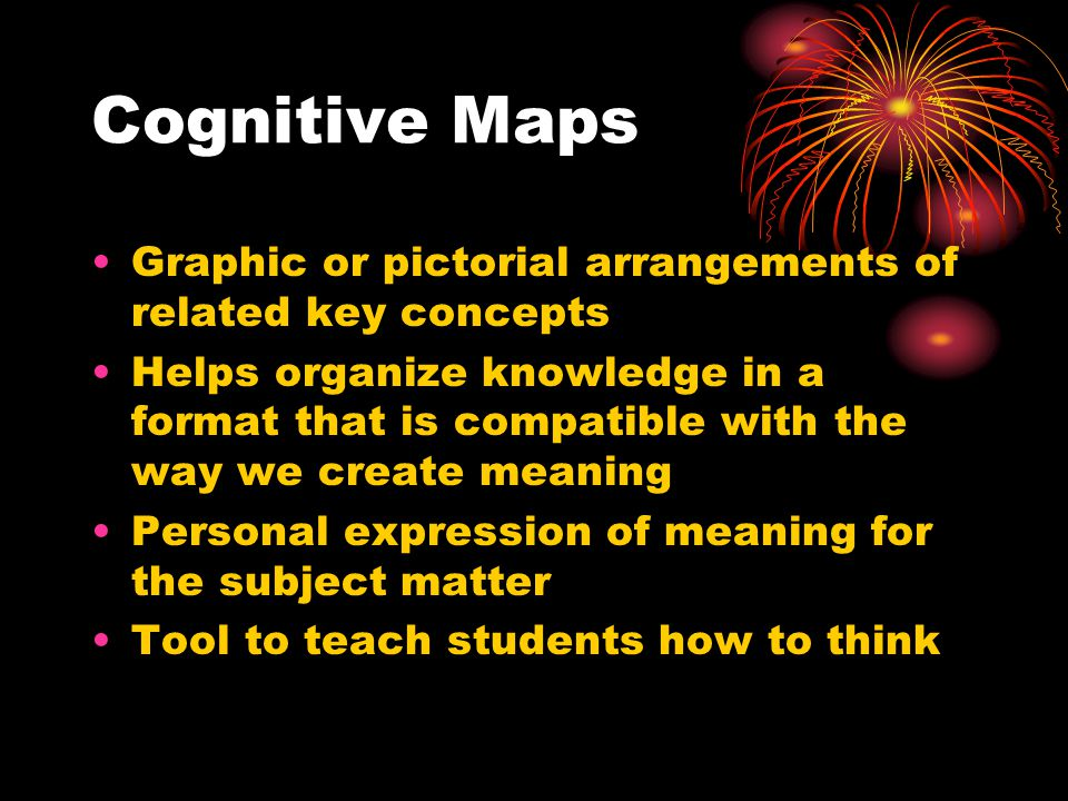 Cognitive Maps Graphic or pictorial arrangements of related key concepts Helps organize knowledge in a format that is compatible with the way we create meaning Personal expression of meaning for the subject matter Tool to teach students how to think