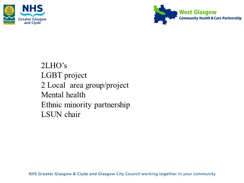 2LHO's LGBT project 2 Local area group/project Mental health Ethnic minority partnership LSUN chair