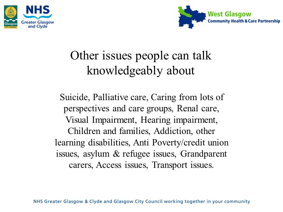 Other issues people can talk knowledgeably about Suicide, Palliative care, Caring from lots of perspectives and care groups, Renal care, Visual Impairment, Hearing impairment, Children and families, Addiction, other learning disabilities, Anti Poverty/credit union issues, asylum & refugee issues, Grandparent carers, Access issues, Transport issues.