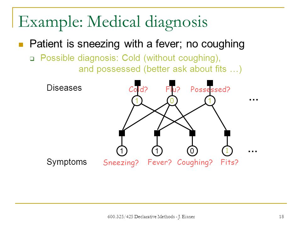 600.325/425 Declarative Methods - J. Eisner 18 Example: Medical diagnosis Diseases 110 Sneezing.