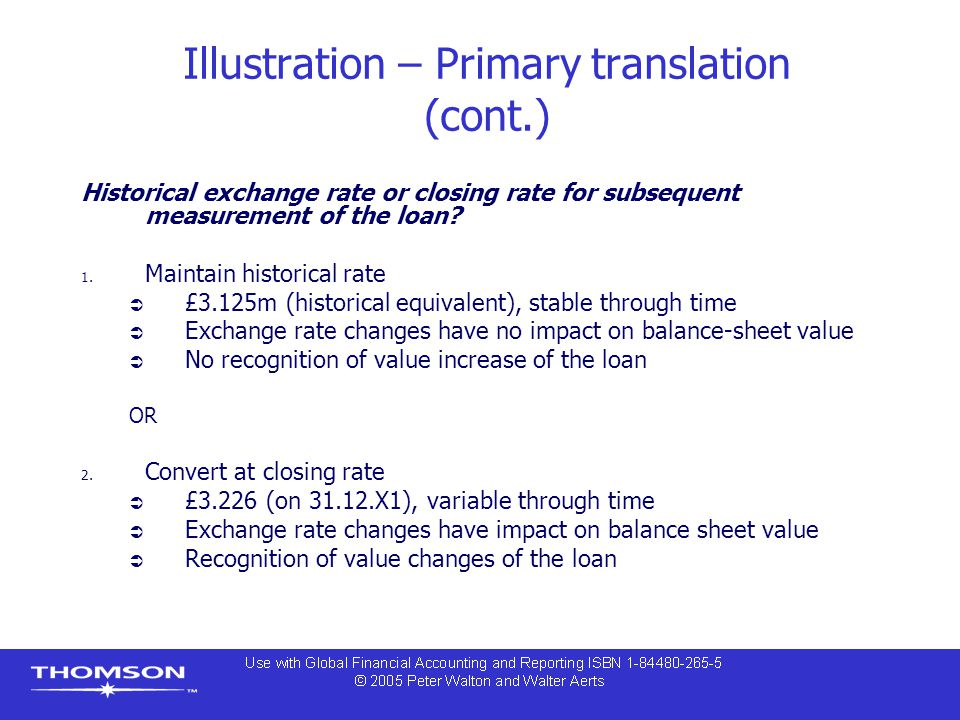 Illustration – Primary translation (cont.) Historical exchange rate or closing rate for subsequent measurement of the loan.
