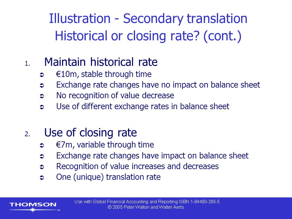 Illustration - Secondary translation Historical or closing rate.