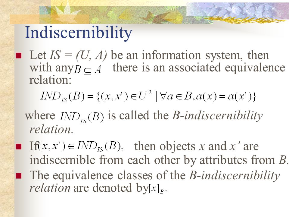 Indiscernibility Let IS = (U, A) be an information system, then with any there is an associated equivalence relation: where is called the B-indiscernibility relation.
