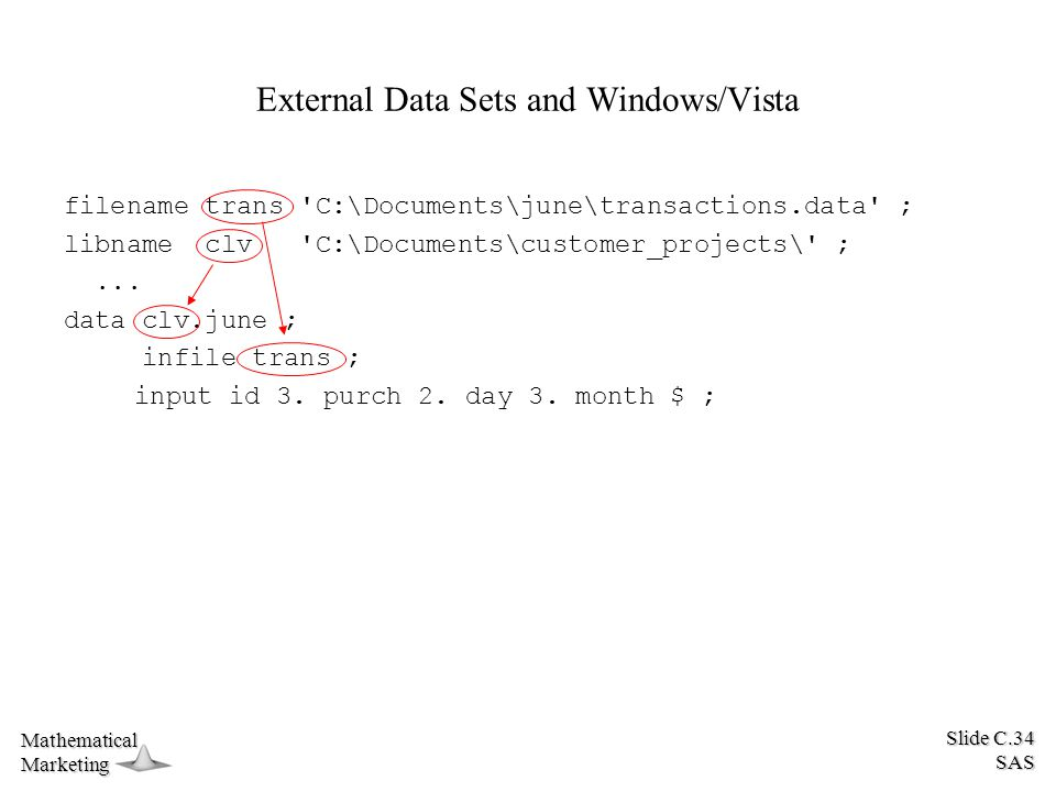 Slide C.34 SAS MathematicalMarketing External Data Sets and Windows/Vista filename trans C:\Documents\june\transactions.data ; libname clv C:\Documents\customer_projects\ ;...