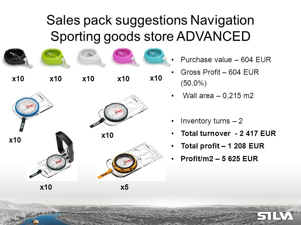 Sales pack suggestions Navigation Sporting goods store ADVANCED Purchase value – 604 EUR Gross Profit – 604 EUR (50,0%) Wall area – 0,215 m2 Inventory turns – 2 Total turnover - 2 417 EUR Total profit – 1 208 EUR Profit/m2 – 5 625 EUR x10 x5