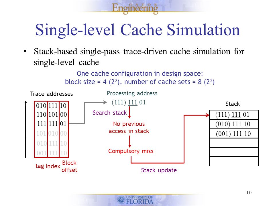 Single-level Cache Simulation Stack-based single-pass trace-driven cache simulation for single-level cache 10 One cache configuration in design space: block size = 4 (2 2 ), number of cache sets = 8 (2 3 ) Stack Trace addresses 001 111 10 010 111 10 101 010 00 111 111 01 110 101 00 010 111 10 Block offset Index tag (111) 111 01 111 111 01 110 101 00 010 111 10 Processing address No previous access in stack Search stack Compulsory miss (001) 111 10 (010) 111 10 (101) 010 00 Stack update (111) 111 01