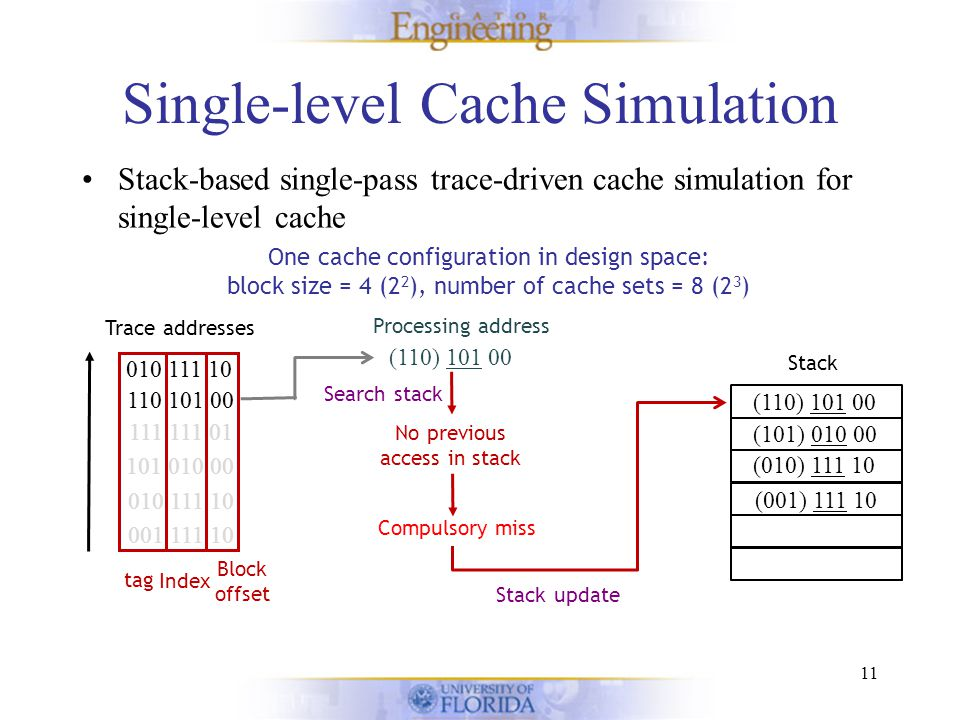 Single-level Cache Simulation Stack-based single-pass trace-driven cache simulation for single-level cache 11 One cache configuration in design space: block size = 4 (2 2 ), number of cache sets = 8 (2 3 ) Stack Trace addresses 001 111 10 010 111 10 101 010 00 111 111 01 110 101 00 010 111 10 Block offset Index tag (110) 101 00 110 101 00 010 111 10 Processing address No previous access in stack Search stack Compulsory miss (001) 111 10 (010) 111 10 (101) 010 00 (111) 111 01 Stack update (110) 101 00