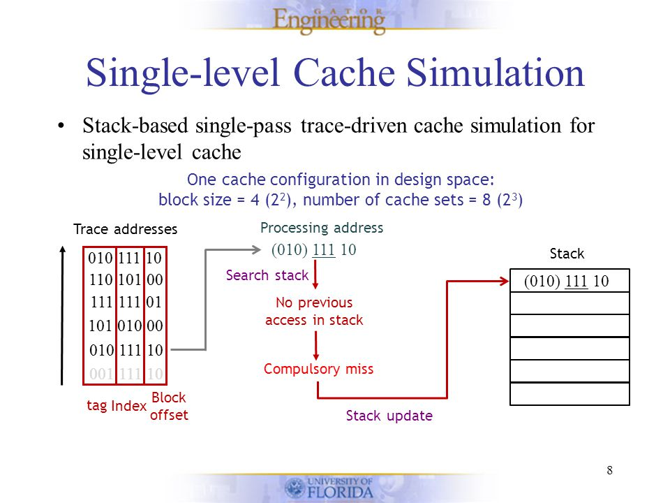 Single-level Cache Simulation Stack-based single-pass trace-driven cache simulation for single-level cache 8 One cache configuration in design space: block size = 4 (2 2 ), number of cache sets = 8 (2 3 ) Stack Trace addresses 001 111 10 010 111 10 101 010 00 111 111 01 110 101 00 010 111 10 Block offset Index tag (010) 111 10 010 111 10 101 010 00 111 111 01 110 101 00 010 111 10 Processing address No previous access in stack Search stack Compulsory miss (001) 111 10 Stack update (010) 111 10