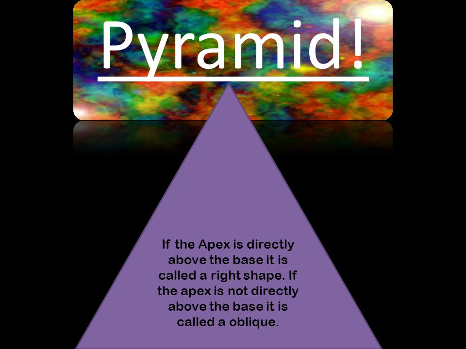 Pyramid. If the Apex is directly above the base it is called a right shape.