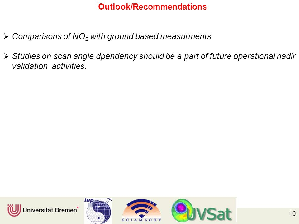 10 Outlook/Recommendations  Comparisons of NO 2 with ground based measurments  Studies on scan angle dpendency should be a part of future operational nadir validation activities.