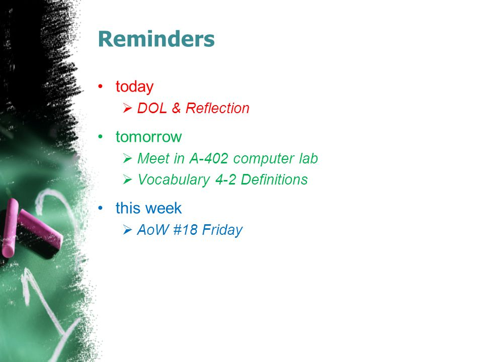 Reminders today  DOL & Reflection tomorrow  Meet in A-402 computer lab  Vocabulary 4-2 Definitions this week  AoW #18 Friday
