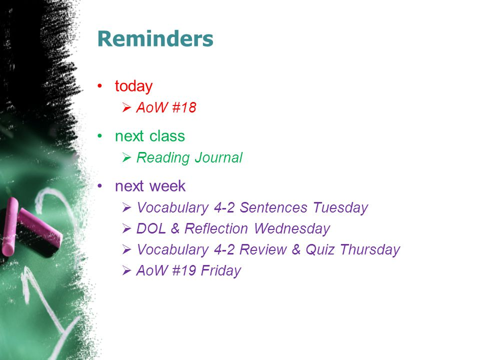Reminders today  AoW #18 next class  Reading Journal next week  Vocabulary 4-2 Sentences Tuesday  DOL & Reflection Wednesday  Vocabulary 4-2 Review & Quiz Thursday  AoW #19 Friday