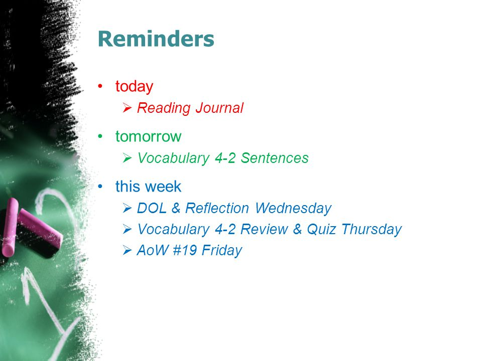 Reminders today  Reading Journal tomorrow  Vocabulary 4-2 Sentences this week  DOL & Reflection Wednesday  Vocabulary 4-2 Review & Quiz Thursday  AoW #19 Friday