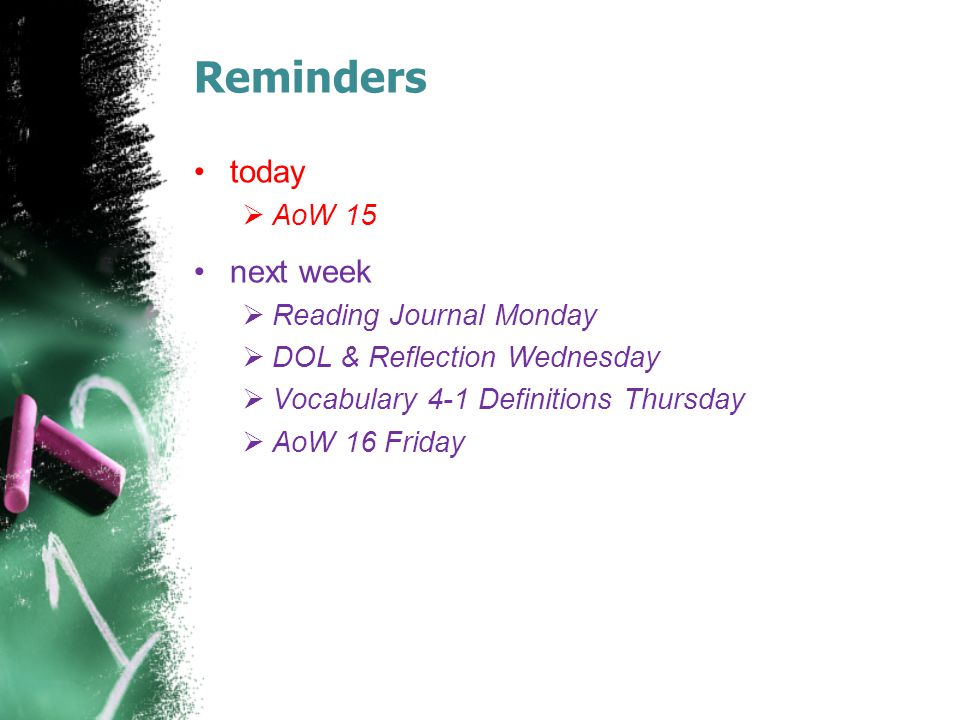 Reminders today  AoW 15 next week  Reading Journal Monday  DOL & Reflection Wednesday  Vocabulary 4-1 Definitions Thursday  AoW 16 Friday