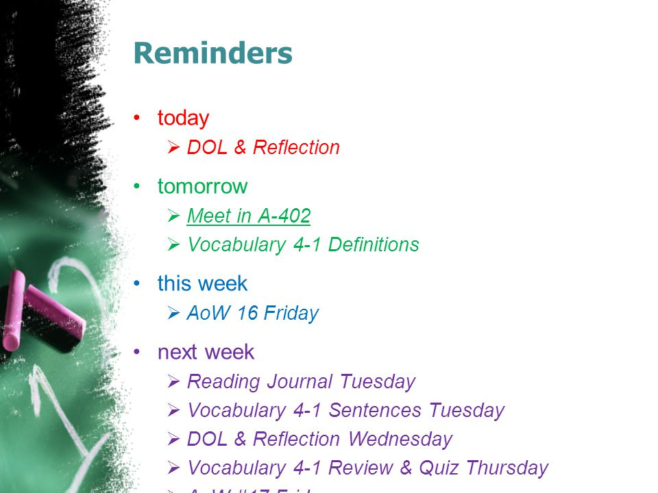 Reminders today  DOL & Reflection tomorrow  Meet in A-402  Vocabulary 4-1 Definitions this week  AoW 16 Friday next week  Reading Journal Tuesday  Vocabulary 4-1 Sentences Tuesday  DOL & Reflection Wednesday  Vocabulary 4-1 Review & Quiz Thursday  AoW #17 Friday
