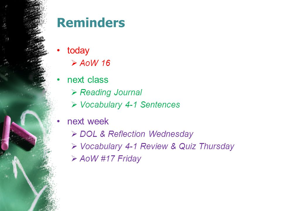 Reminders today  AoW 16 next class  Reading Journal  Vocabulary 4-1 Sentences next week  DOL & Reflection Wednesday  Vocabulary 4-1 Review & Quiz Thursday  AoW #17 Friday