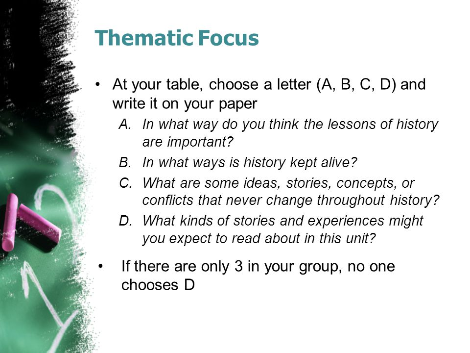 Thematic Focus At your table, choose a letter (A, B, C, D) and write it on your paper A.In what way do you think the lessons of history are important.