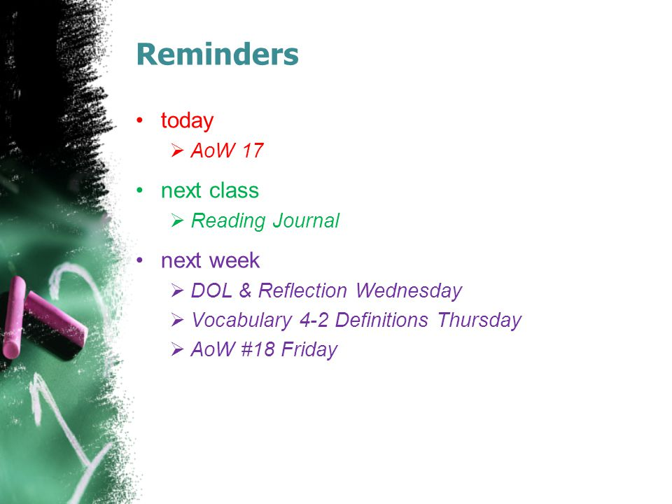 Reminders today  AoW 17 next class  Reading Journal next week  DOL & Reflection Wednesday  Vocabulary 4-2 Definitions Thursday  AoW #18 Friday