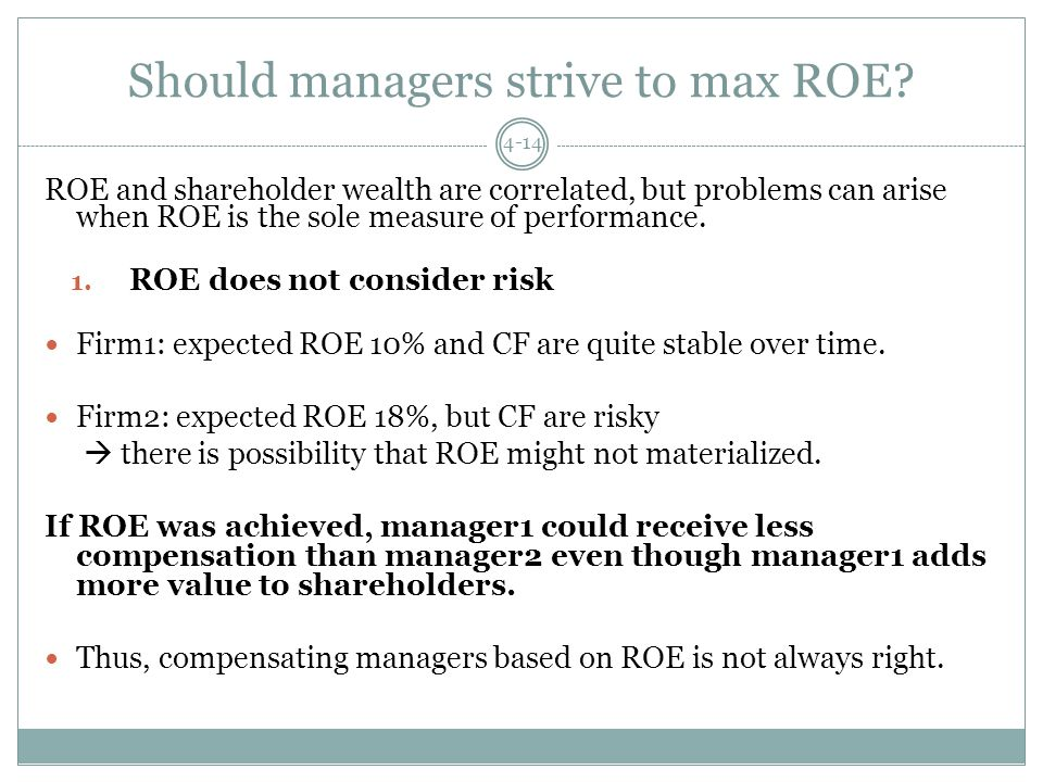 Should managers strive to max ROE.