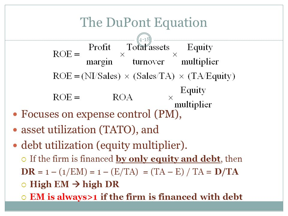 The DuPont Equation 4-18 Focuses on expense control (PM), asset utilization (TATO), and debt utilization (equity multiplier).