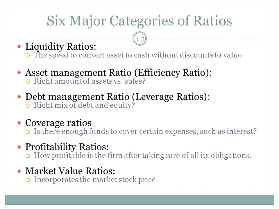 Six Major Categories of Ratios Liquidity Ratios:  The speed to convert asset to cash without discounts to value Asset management Ratio (Efficiency Ratio):  Right amount of assets vs.