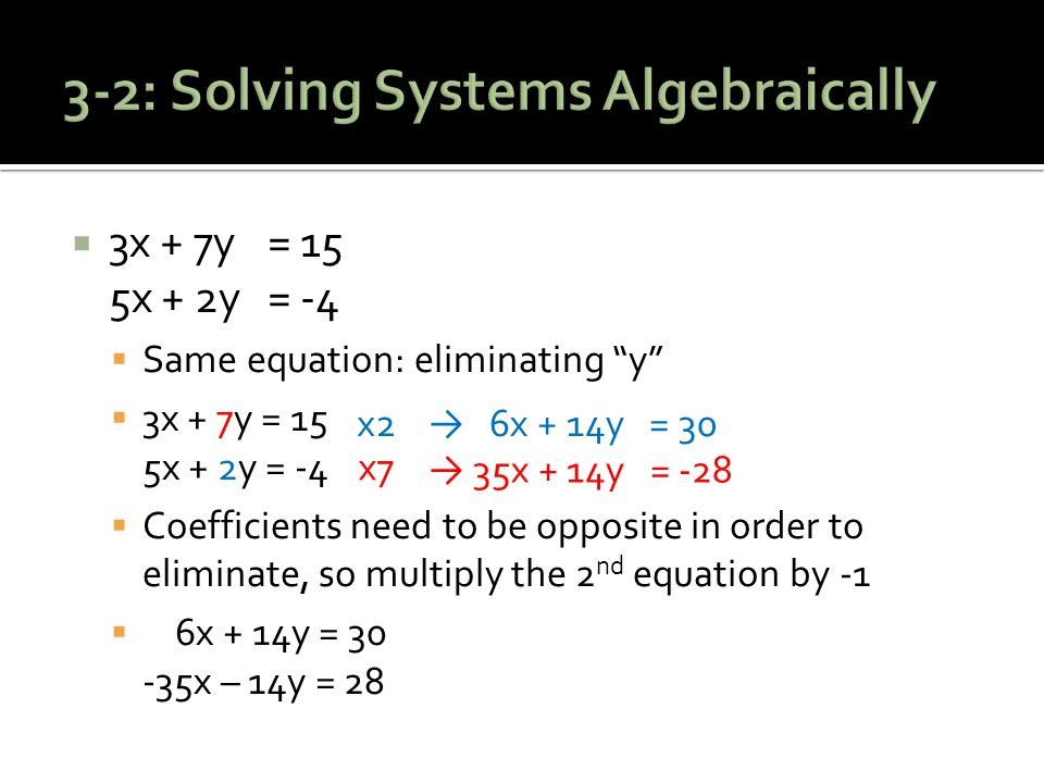  3x + 7y = 15 5x + 2y = -4  Same equation: eliminating y  3x + 7y = 15 5x + 2y = -4  Coefficients need to be opposite in order to eliminate, so multiply the 2 nd equation by -1  6x + 14y = 30 -35x – 14y = 28 x2 x7 → 6x + 14y = 30 → 35x + 14y = -28