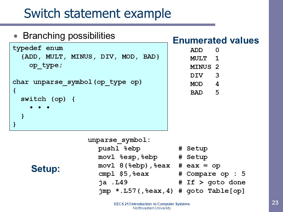 EECS 213 Introduction to Computer Systems Northwestern University 23 Switch statement example Branching possibilities Setup: unparse_symbol: pushl %ebp# Setup movl %esp,%ebp# Setup movl 8(%ebp),%eax# eax = op cmpl $5,%eax# Compare op : 5 ja.L49# If > goto done jmp *.L57(,%eax,4)# goto Table[op] Enumerated values ADD0 MULT1 MINUS2 DIV3 MOD4 BAD5 typedef enum {ADD, MULT, MINUS, DIV, MOD, BAD} op_type; char unparse_symbol(op_type op) { switch (op) { }
