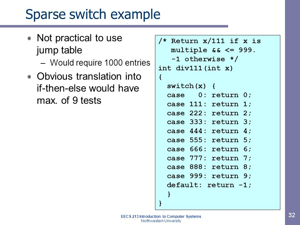 EECS 213 Introduction to Computer Systems Northwestern University 32 Sparse switch example Not practical to use jump table –Would require 1000 entries Obvious translation into if-then-else would have max.