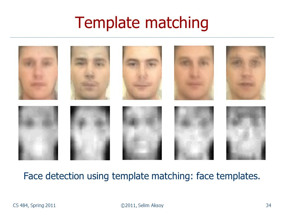 CS 484, Spring 2011©2011, Selim Aksoy34 Template matching Face detection using template matching: face templates.