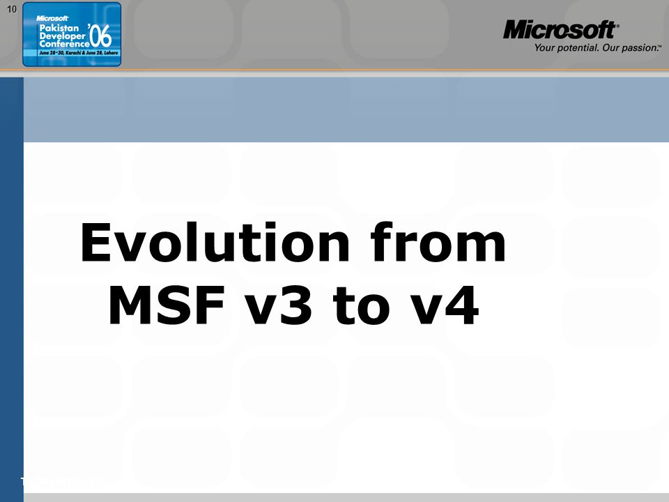 TEŽAVNOST: 20010 Evolution from MSF v3 to v4
