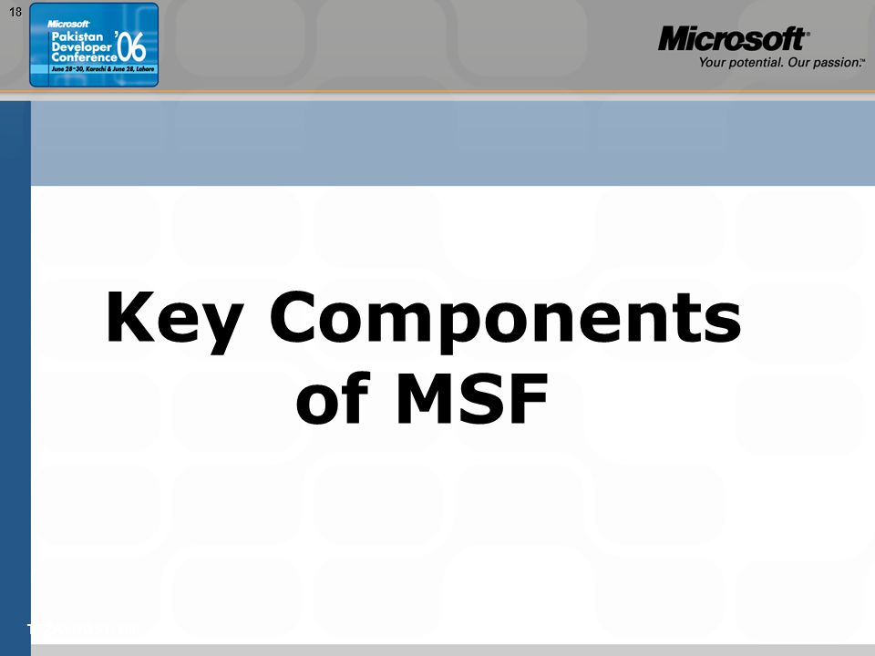 TEŽAVNOST: 20018 Key Components of MSF