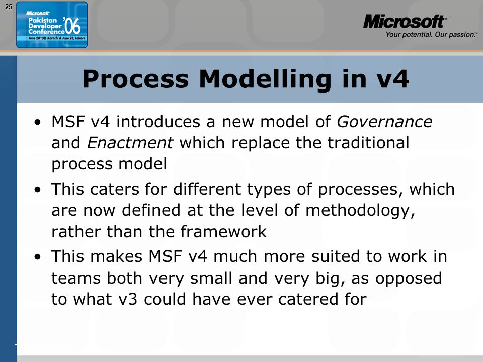 TEŽAVNOST: 20025 Process Modelling in v4 MSF v4 introduces a new model of Governance and Enactment which replace the traditional process model This caters for different types of processes, which are now defined at the level of methodology, rather than the framework This makes MSF v4 much more suited to work in teams both very small and very big, as opposed to what v3 could have ever catered for