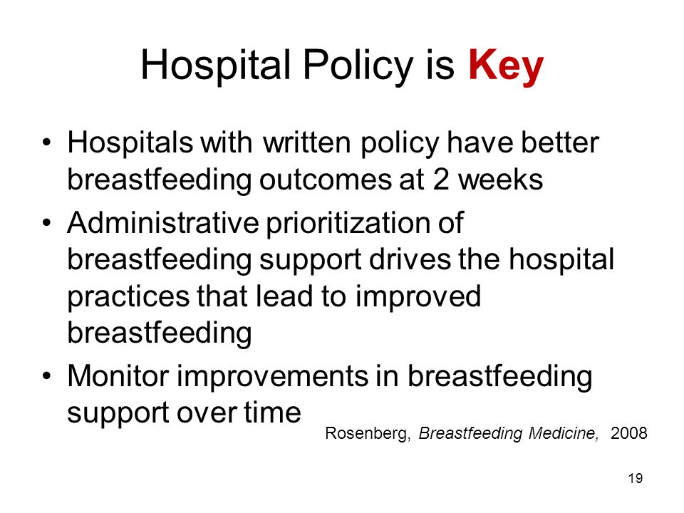 Hospital Policy is Key Hospitals with written policy have better breastfeeding outcomes at 2 weeks Administrative prioritization of breastfeeding support drives the hospital practices that lead to improved breastfeeding Monitor improvements in breastfeeding support over time 19 Rosenberg, Breastfeeding Medicine, 2008