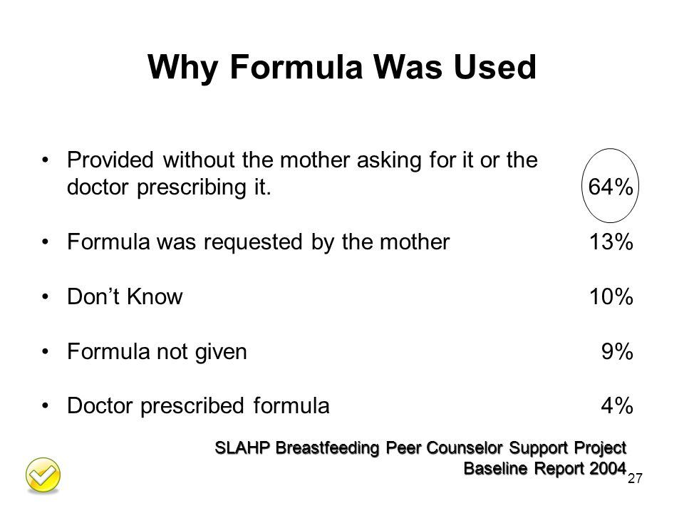 Why Formula Was Used Provided without the mother asking for it or the doctor prescribing it.64% Formula was requested by the mother 13% Don't Know10% Formula not given 9% Doctor prescribed formula 4% 27 SLAHP Breastfeeding Peer Counselor Support Project Baseline Report 2004