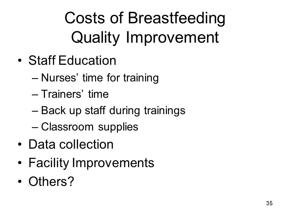Costs of Breastfeeding Quality Improvement Staff Education –Nurses' time for training –Trainers' time –Back up staff during trainings –Classroom supplies Data collection Facility Improvements Others.