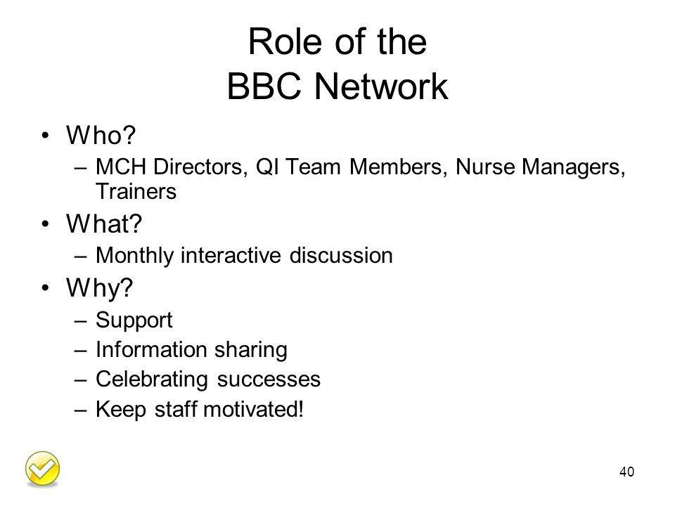 Role of the BBC Network Who. –MCH Directors, QI Team Members, Nurse Managers, Trainers What.
