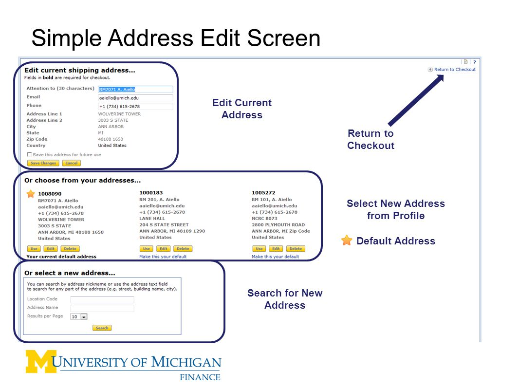 Simple Address Edit Screen Edit Current Address Select New Address from Profile Default Address Search for New Address Return to Checkout