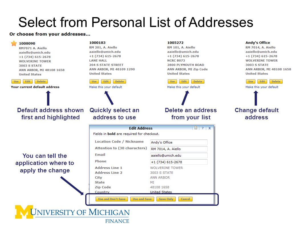 Select from Personal List of Addresses Change default address Default address shown first and highlighted Quickly select an address to use Delete an address from your list You can tell the application where to apply the change