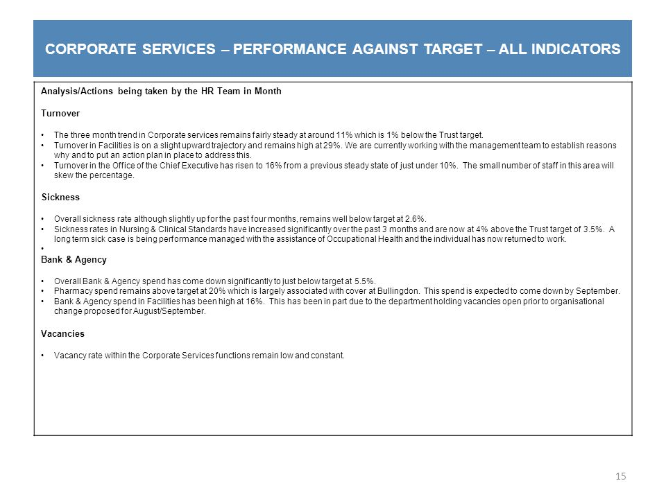 CORPORATE SERVICES – PERFORMANCE AGAINST TARGET – ALL INDICATORS 15 Analysis/Actions being taken by the HR Team in Month Turnover The three month trend in Corporate services remains fairly steady at around 11% which is 1% below the Trust target.