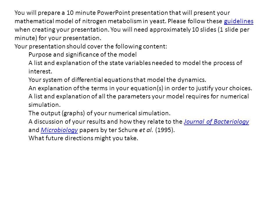 You will prepare a 10 minute powerpoint presentation that will you will prepare a 10 minute powerpoint presentation that will present your mathematical model of nitrogen toneelgroepblik Gallery