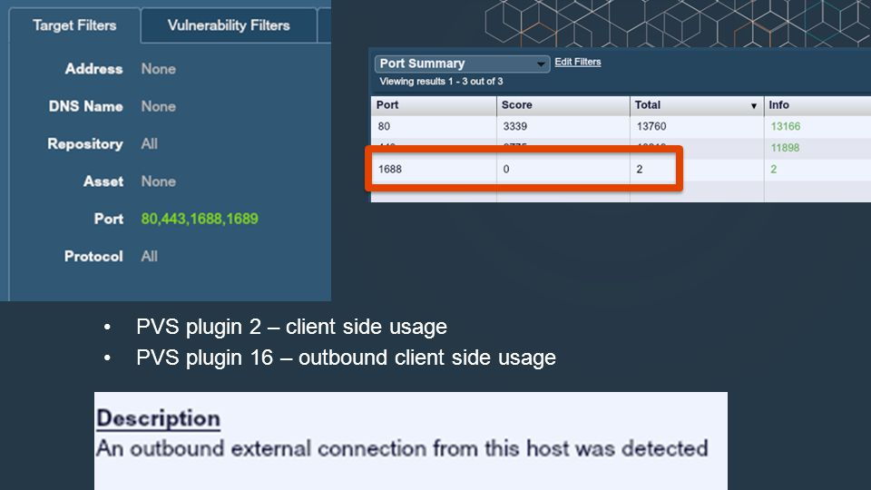 PVS plugin 2 – client side usage PVS plugin 16 – outbound client side usage
