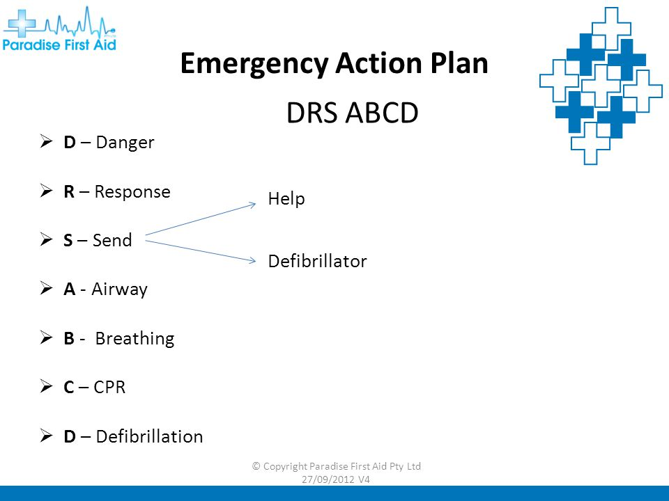 Emergency Action Plan DRS ABCD  D – Danger  R – Response  S – Send  A - Airway  B - Breathing  C – CPR  D – Defibrillation © Copyright Paradise First Aid Pty Ltd 27/09/2012 V4 Help Defibrillator
