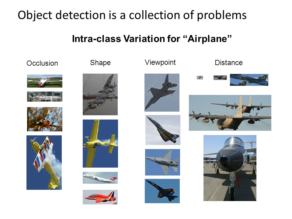 Object detection is a collection of problems Distance Shape Occlusion Viewpoint Intra-class Variation for Airplane