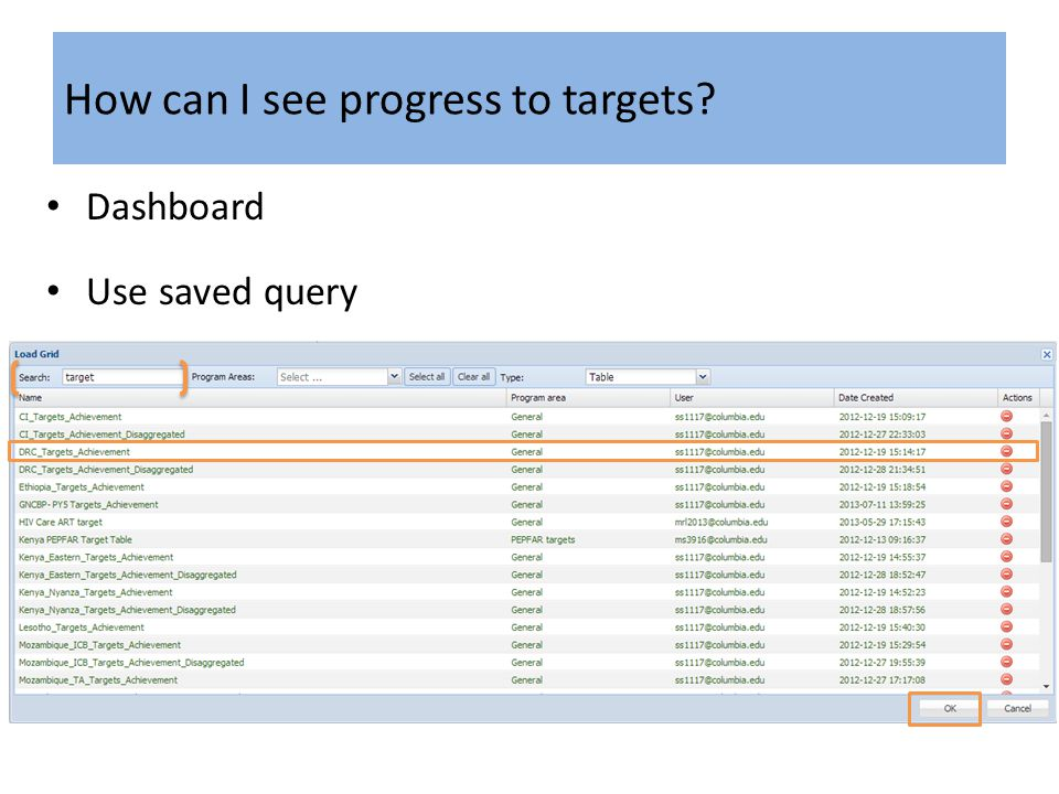 How can I see progress to targets Dashboard Use saved query