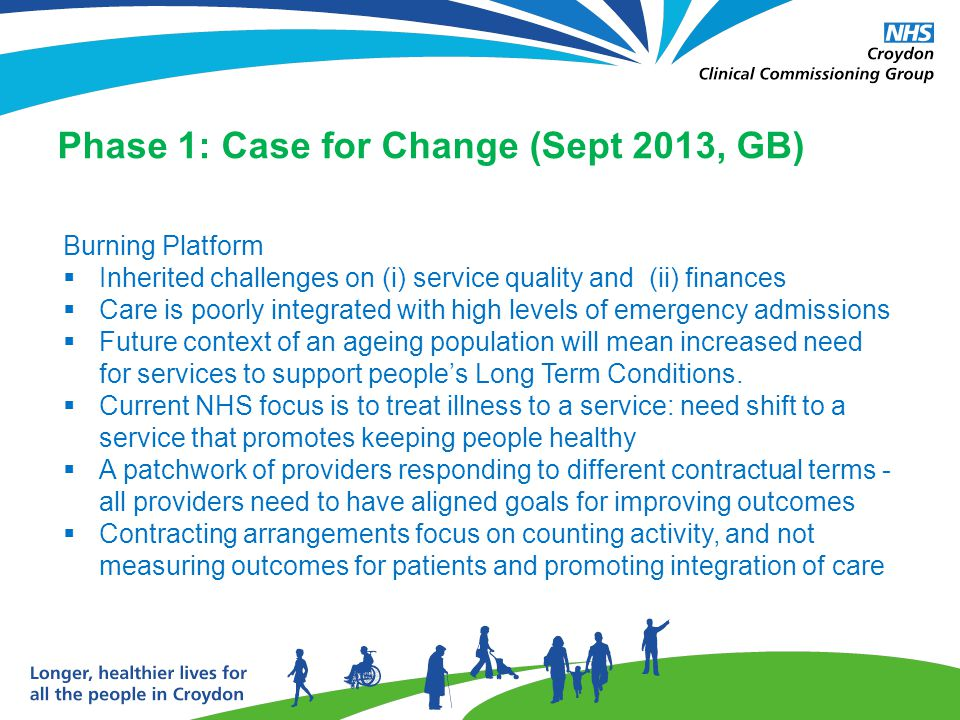 Phase 1: Case for Change (Sept 2013, GB) Burning Platform  Inherited challenges on (i) service quality and (ii) finances  Care is poorly integrated with high levels of emergency admissions  Future context of an ageing population will mean increased need for services to support people's Long Term Conditions.