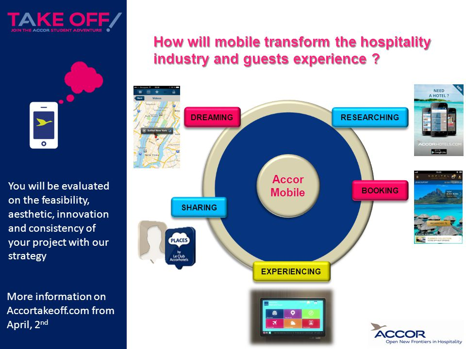 DREAMING BOOKING EXPERIENCING SHARING RESEARCHING Accor Mobile How will mobile transform the hospitality industry and guests experience .