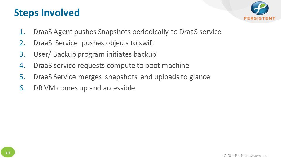 © 2014 Persistent Systems Ltd 11 Steps Involved 1.DraaS Agent pushes Snapshots periodically to DraaS service 2.DraaS Service pushes objects to swift 3.User/ Backup program initiates backup 4.DraaS service requests compute to boot machine 5.DraaS Service merges snapshots and uploads to glance 6.DR VM comes up and accessible