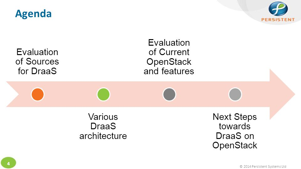 © 2014 Persistent Systems Ltd 4 Agenda Evaluation of Sources for DraaS Various DraaS architecture Evaluation of Current OpenStack and features Next Steps towards DraaS on OpenStack
