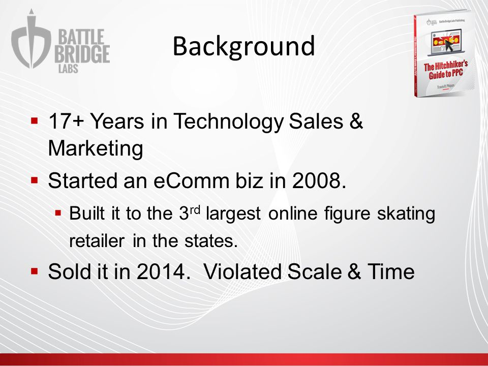 Background  17+ Years in Technology Sales & Marketing  Started an eComm biz in 2008.